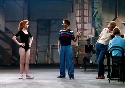 Moira Shearer as Victoria Page, Léonide Massine as Grischa Ljubov and Marius Goring as Julian Craster