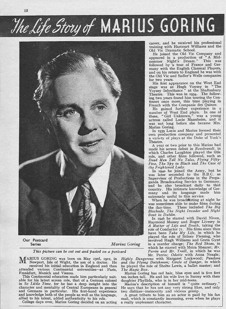 Marius Goring article 1952 in The Picture Show magazine