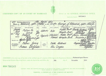 Marius Re Goring and Prudence Mary Fitzgerlald Marriage Certificate 1977
