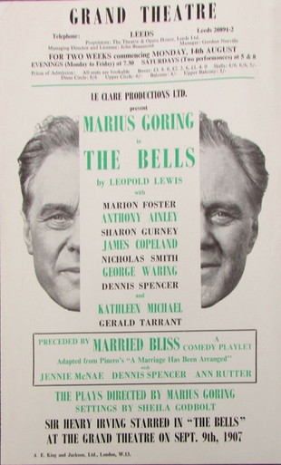 'The Bells' at the Grand Theatre, Leeds August 1968 Programme