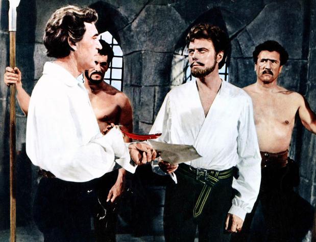 David Farrar as Des Roches and Marius Goring as the Earl of Chester