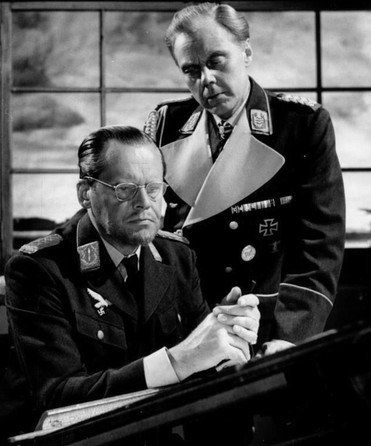 Albert Lieven as Oderbruch and Marius Goring as Luftwaffe General Harras in The Devil's General. Broadcast 14 August 1960