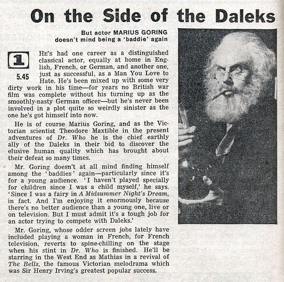Evil of the Daleks article in The Radio Times May 1967