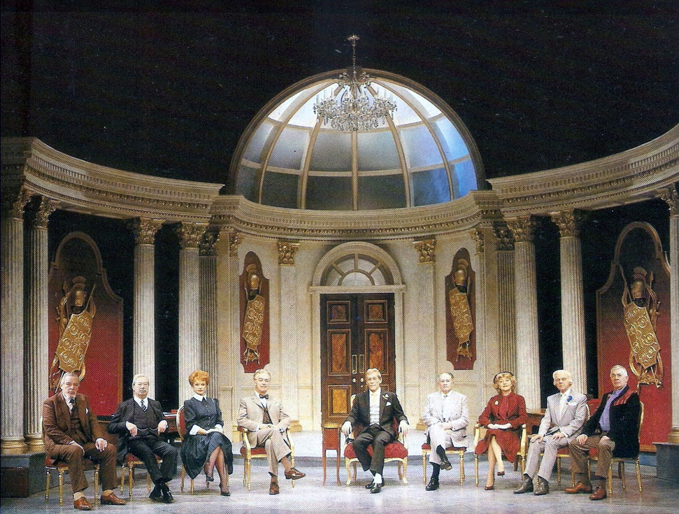 Marius Goring and the cast of The Apple Cart by George Bernard Shaw at the Theatre Royal Haymarket, London, 1986. Directed by Val May.