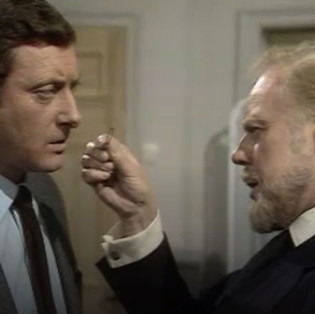 Victor Winding as Chief Detective Inspector Fleming and Marius Goring as Professor John Hardy in The Expert Season 3 Episode 1 'A Way to Die'. Director: Prudence Fitzgerald. Writers: N.J. Crisp, Gerard Glaister, Eric Paice. Broadcast 3 January 1971