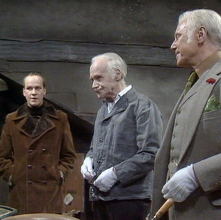 Sean Arnold as Bert, Donald Layne-Smith as Norman and Marius Goring as Rex in Wilde Alliance Season 1 Episode 4  'Things That Go Bump'. Director: Marc Miller. Writer: Philip Broadley. Broadcast 7 February 1978