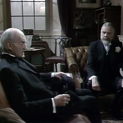 Reginald Denholm as the Archbishop of Canterbury and Marius Goring as King George V in Edward and Mrs Simpson Part 2 'Venus at the Prow'. Director: Waris Hussein. Writers: Frances Donaldson, Simon Raven. Broadcast 15 November 1978