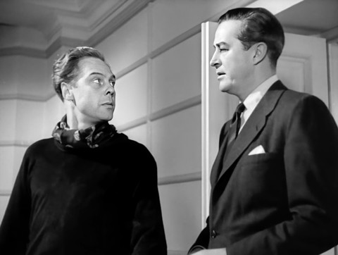 Marius Goring as Sholto Lewis and Ray Milland as Clay Douglas