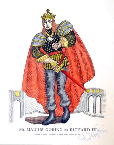 Marius Goring as Richard III Cartoon 1953