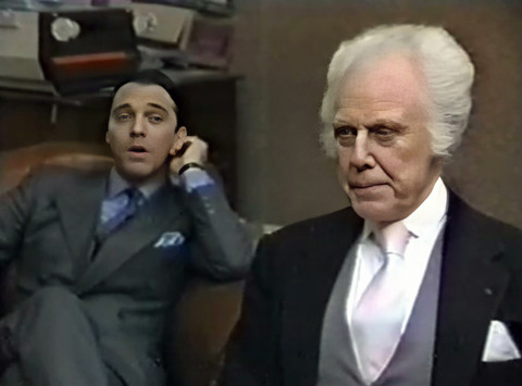 Stuart Wilson as Simon Carter and Marius Goring as Emile Englander in The Old Men at the Zoo Episode 1 'A Tall Story'. Director: Stuart Burge Writers: Troy Kennedy-Martin, Angus Wilson. Broadcast 15 September 1983