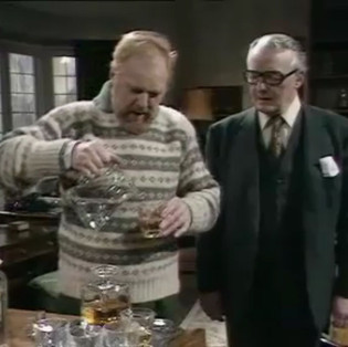 Marius Goring as Professor John Hardy and Noel Johnson as Dr Worseley in The Expert Season 4 Episode 1 'The Second Appeal'. Directed by Gerard Glasier and written by N.J. Crisp and Gerard Glaister. Broadcast 24 September 1976