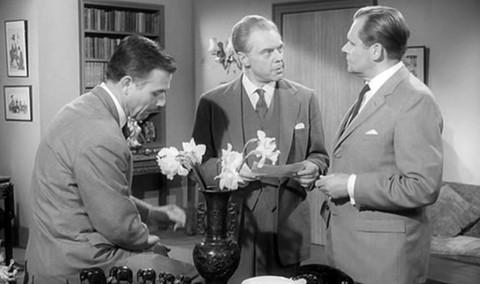 Joachim Fuchsberger as Jack Tarling, Marius Goring as Oliver Milburgh and Albert Lieven as Raymond Lyne in the German version of the film