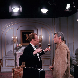 Richard Bradford as McGill and Marius Goring as Henri Thibaud in Man in a Suitcase Season 1 Episode 20 'Blind Spot'. Directed by Jeremy Summers and written by Victor Canning, Richard Harris and Dennis Spooner. Broadcast 7 February 1968