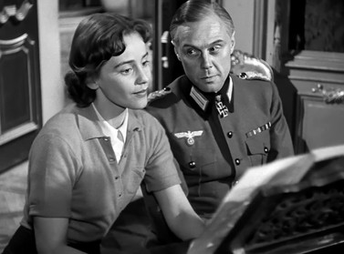 Maria Schell as Nicole de Malvines and Marius Goring as Colonel Günther von Hohensee in So Little Time 1952