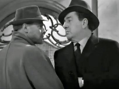 Marius Goring as Peter the Lett and Rupert Evans as Maigret