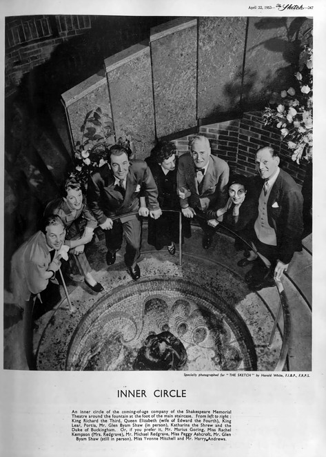 Marius Goring with other members of the Royal Shakespeare Company at the Shakespeare Memorial Theatre 1953. The Sketch 22 April 1953