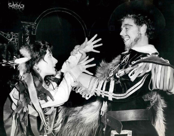 Yvonne Mitchell as Katharina and Marius Goring as Petruchio in Shakespeare's 'The Taming of the Shrew' 1953