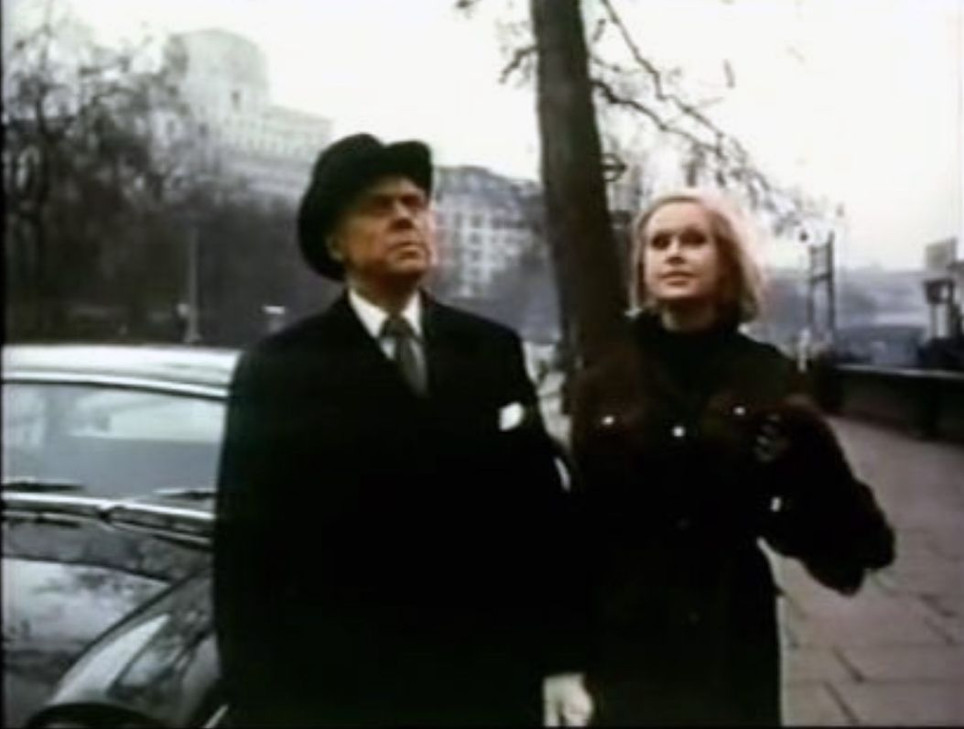 Marius Goring as Shevik and Suzanna Leigh as Donetta in Subterfuge 1968