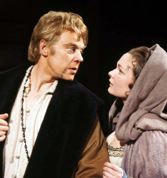 Marius Goring as Angelo and Judi Dench as Isabella in Shakespeare's 'Measure for Measure' at the Shakespeare Theatre, Stratford 1962