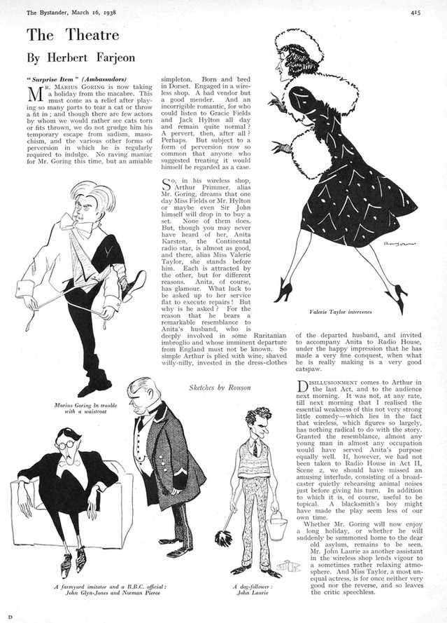 'Surprise Item' review by Herbert Farjeon in The Bystander 16 March 1938. Sketches by Rouson