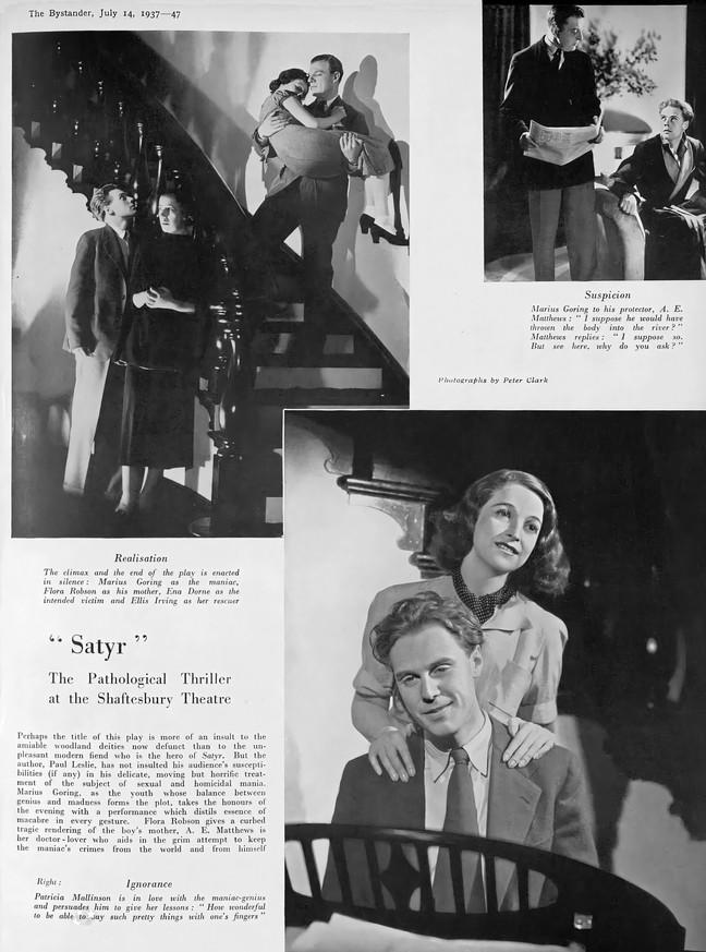 Marius Goring, Flora Robson, Ena Dorne, Ellis Irving, A.E. Matthews and Patricia Mallinson in 'Satyr' at the Shaftesbury Theatre 1937