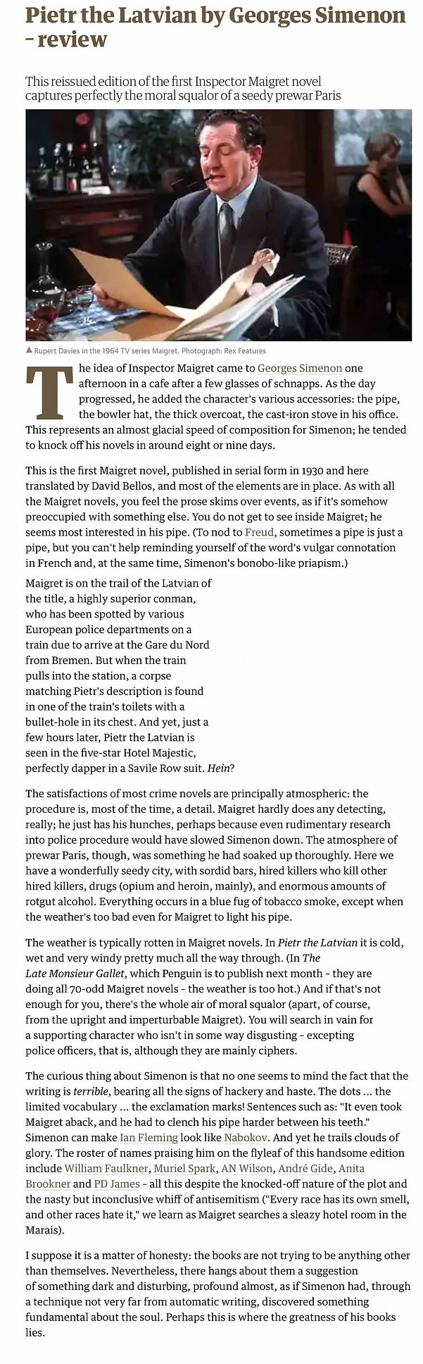 Pietr the Latvian Review The Guardian 26 November 2013