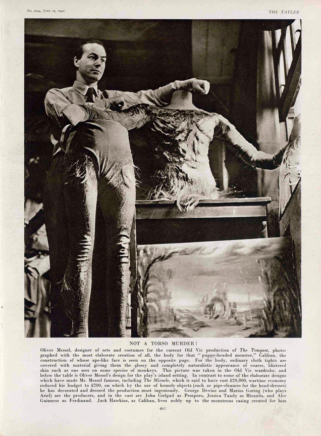 Oliver Messel with Caliban's costume from The Tempest at the Old Vic 1940. The Tatler 19 June 1940