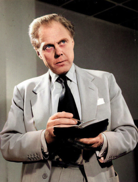 Marius Goring as John Lock in 'The Money Machine' by Vivian A Daniels. Alastair Moncrieff designs a banknote counter and he takes it to Olagem Ltd. Director John Lock realises that the counter can make a fortune, and determines that the fortune shall go to Olagem. Broadcast 3 June 1962