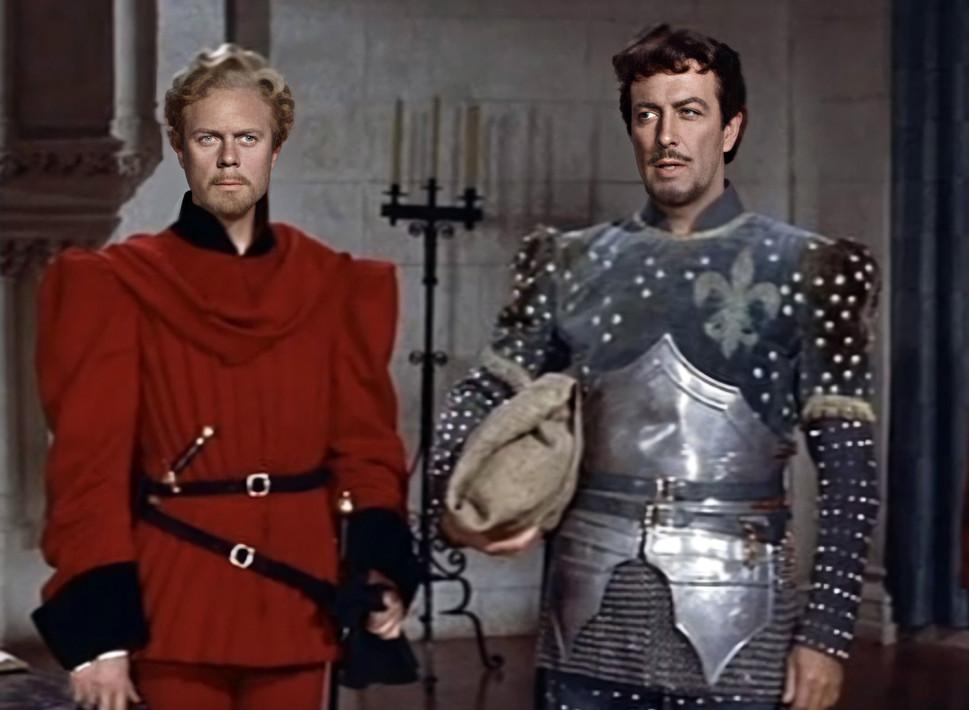 Marius Goring as Count Philip de Creville and Robert Taylor as Quentin Durward