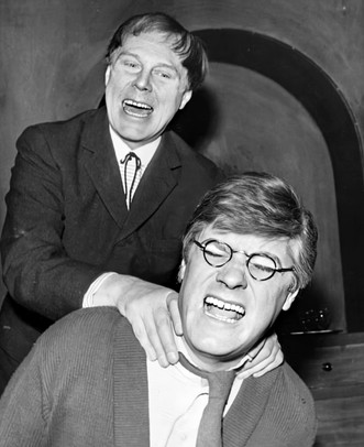 Marius and Norman Rodway rehearsing the play 'The Poker Session' at the Globe Theatre, London 10 February 1964