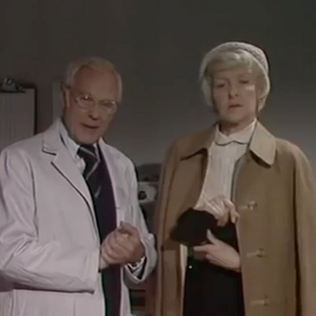 Marius Goring as Dr John Landy and Elaine Stritch as Mary Pearl in Tales of the Unexpected Season 1 Episode 3 'William and Mary'. Director: Donald McWhinnie. Writers: Roald Dahl, Ronald Harwood. Broadcast 7 April 1979