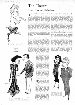 Review of Paul Leslie's 'Satyr' in The Bystander 30 June 1937 by A.V.C. with sketches by Rouson