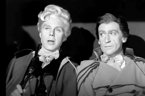 Marius Goring as Sir Percy Blakeney and Patrick Troughton as Sir Andrew Ffoulkes