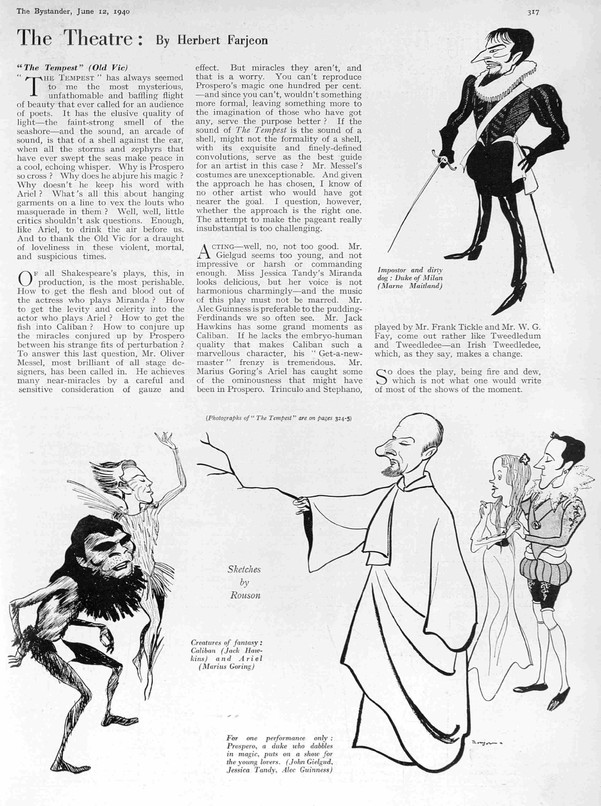 The Tempest Review by Herbert Farjeon in The Bystander 12 June 1940 with sketches by Rouson
