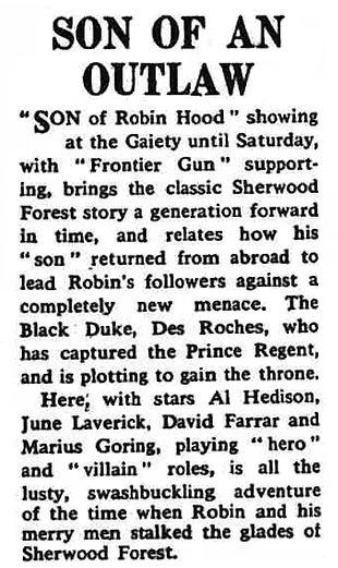 Son of Robin Hood review Eastbourne Gazette 15 April 1959