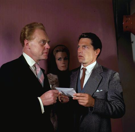 Marius Goring as Lewis Eliot, Jennifer Daniel as Irene Eliot and Lyndon Brook as Martin Eliot in the ITV Play of the Week Season 12 Episode 10 'The New Men'.