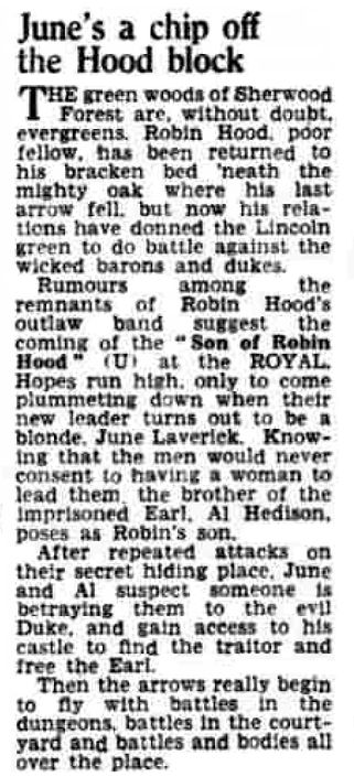 Son of Robin Hood review Halifax Daily Courier & Guardian 18 May 1959