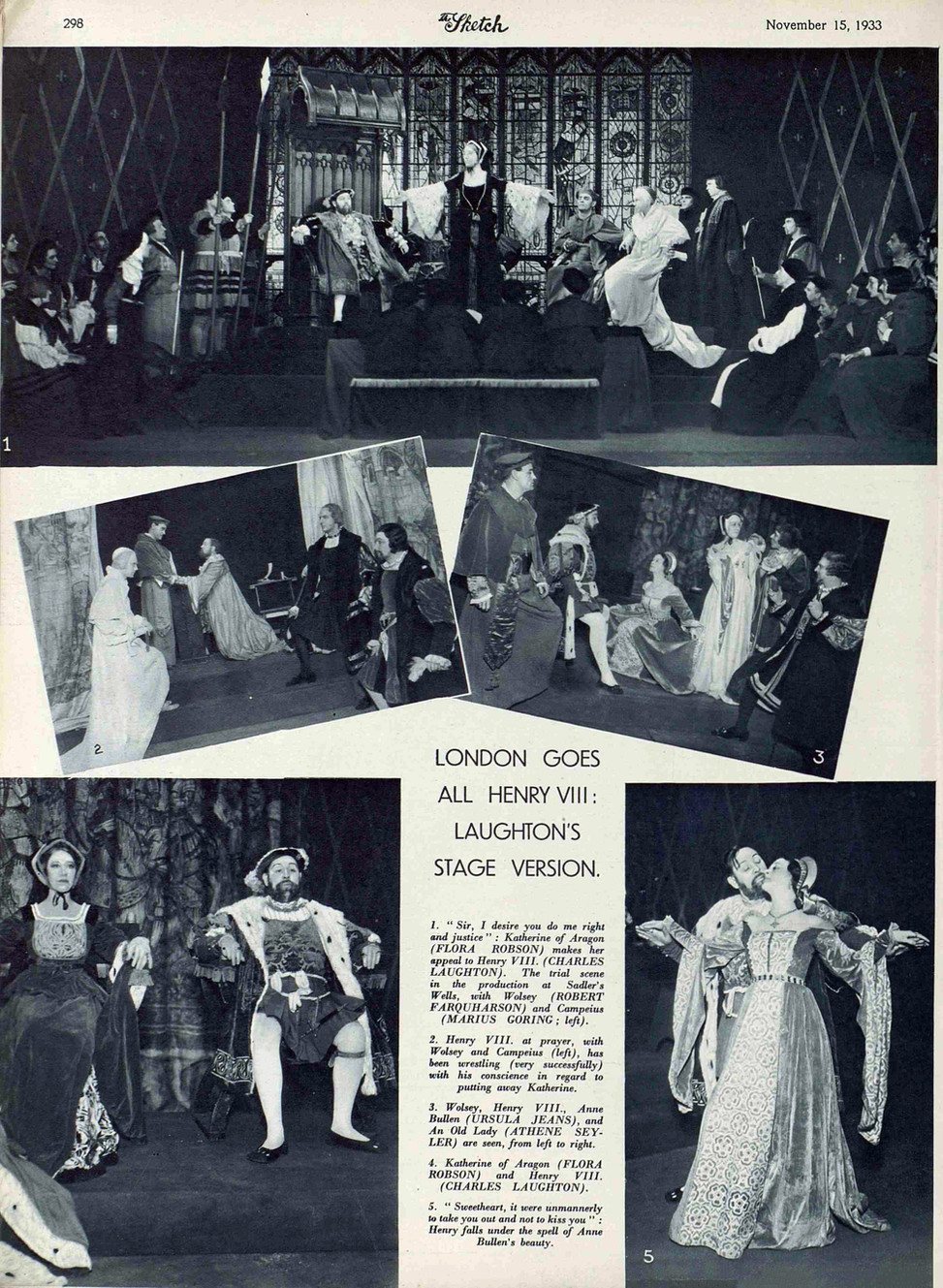 Marius Goring as Cardinal Campeius in Tyrone Guthrie's production of Shakespeare's Henry VIII at the Sadler's Wells Theatre. The Sketch 15 November 1933