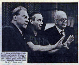 C. P. Snow with director John Jacobs and Marius Goring at rehearsals for The New Men, the Anglia play written by Troy Kennedy Martin from the C. P. Snow novel