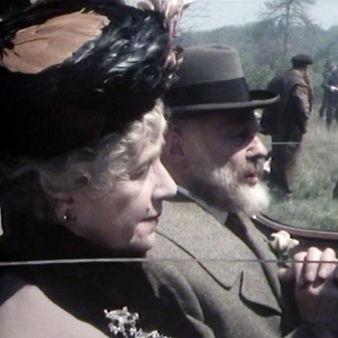 Peggy Ashcroft as Queen Mary and Marius Goring as King George V in Edward and Mrs Simpson Part 1 'The Little Prince'. Director: Waris Hussein. Writers: Frances Donaldson, Simon Raven. Broadcast 6 November 1978