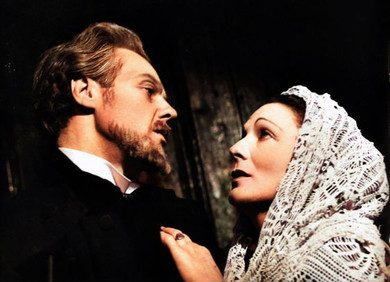 Marius Goring as Johannes Rosmer and Lucie Mannheim as Rebecca West in 'Rosmersholm' by Henrik Ibsen at the Arts Theatre, London 1948