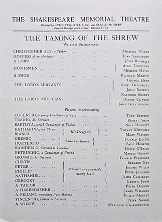 Shakespeare Memorial Theatre 1953 Programme for The Taming of the Shrew