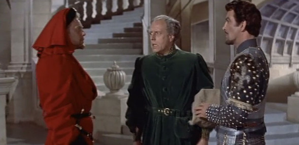 Marius Goring as Count Philip de Creville, Moultrie Kelsall as Lord Malcolm and Robert Taylor as Quentin Durward