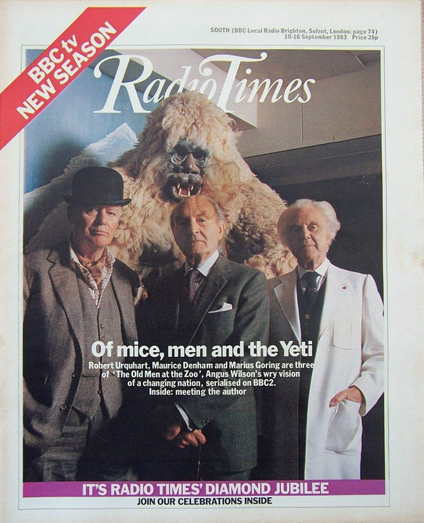 Robert Urquhart as Sir Robert Falcon, Maurice Denholm as Dr Edwin Leacock and Marius Goring as Emile Englander in The Old Men at the Zoo. Radio Times 10-16 September 1983