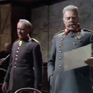 Michael Bates as von Ludendorff and Marius Goring as von Hindenburg in Fall of Eagles Episode 13 'End Game'. Director: Rudolph Cartier Writers: Keith Dewhurst, John Elliot. Broadcast 7 June 1974