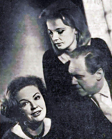 Phyllis Calvert, Elizabeth Shepherd and Marius Goring in 'Ménage à Trois', by Ronald Duncan, directed by Warren Jenkins. The Lyric Theatre 19 March 1963