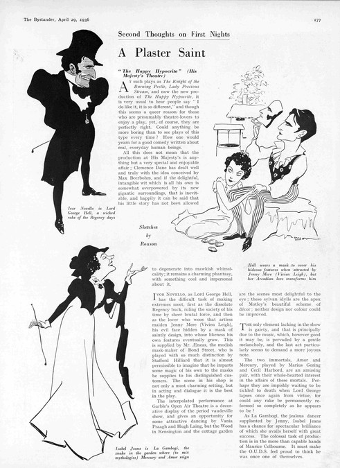Review of 'The Happy Hypocrite' in The Bystander 29 April 1936. Sketches by Rouson