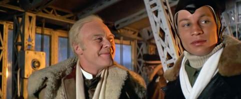 Marius Goring as Professor Christian Altschul and Michael York as Geoffrey Richter-Douglas in Zeppelin 1971