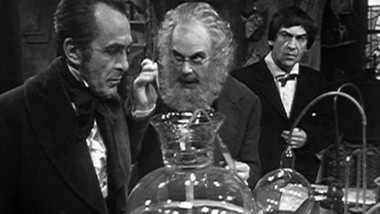 John Bailey as Edward Waterfield, Marius Goring as Theodore Maxtible and Patrick Troughton as The Doctor in Doctor Who Season 4 Episode 2 'The Evil of the Daleks'. Directed by Derek Martinus and written by David Whitaker and Sydney Newman. Broadcast 27 May 1967