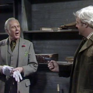 Marius Goring as Rex and John Stride as Rupert Wilde in Wilde Alliance Season 1 Episode 4  'Things That Go Bump'. Director: Marc Miller. Writer: Philip Broadley. Broadcast 7 February 1978